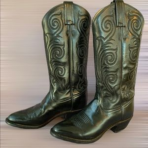 TONY LAMA Cowgirl Cowboy Western  Leather Sole Toe